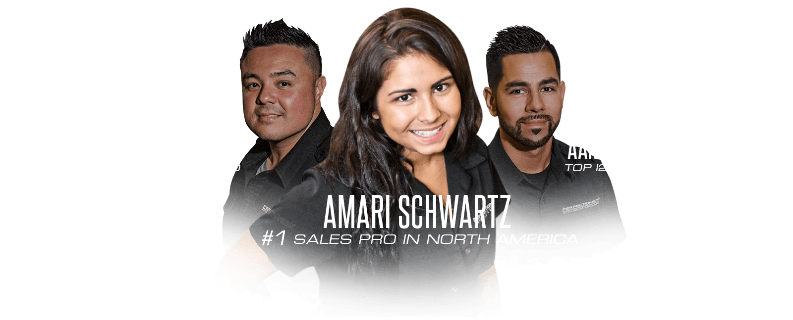 Amari Schwartz Top Sales Pro of the Year, Rob Kowatch Top 20 Sales Pro, Aaron Garcia Top 12 Installer
